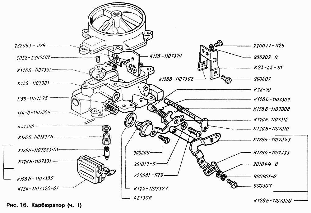 Схема верхней части карбюратора ГАЗ-53