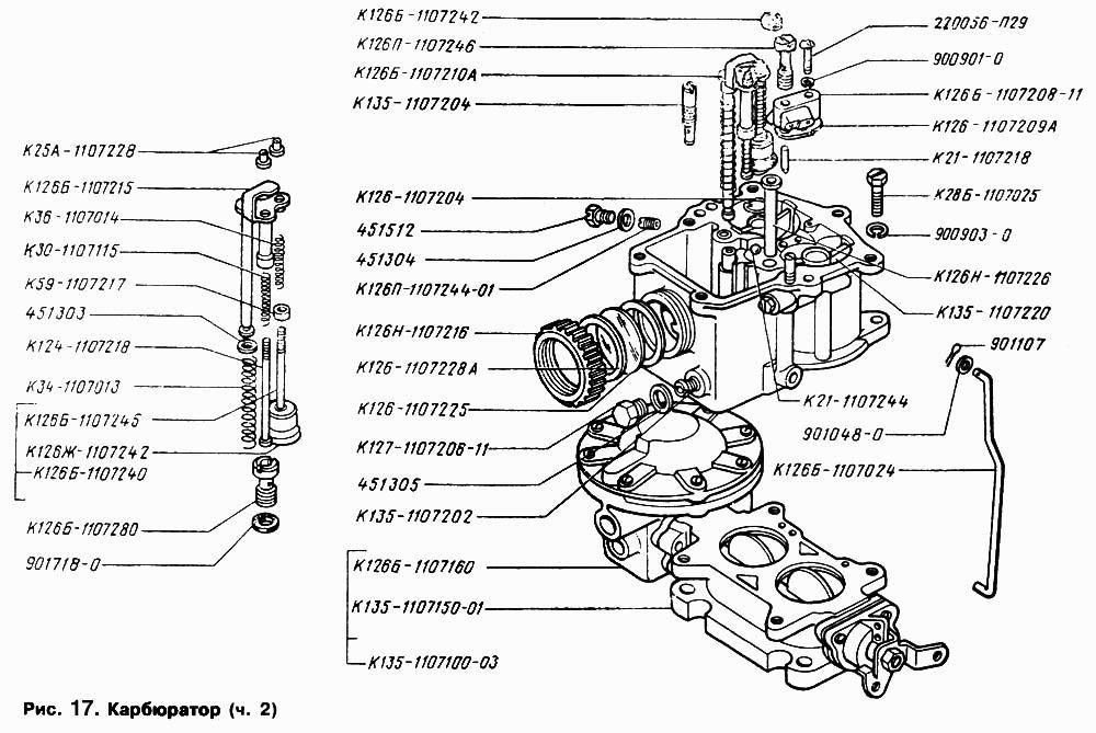 Схема нижней части карбюратора ГАЗ-53