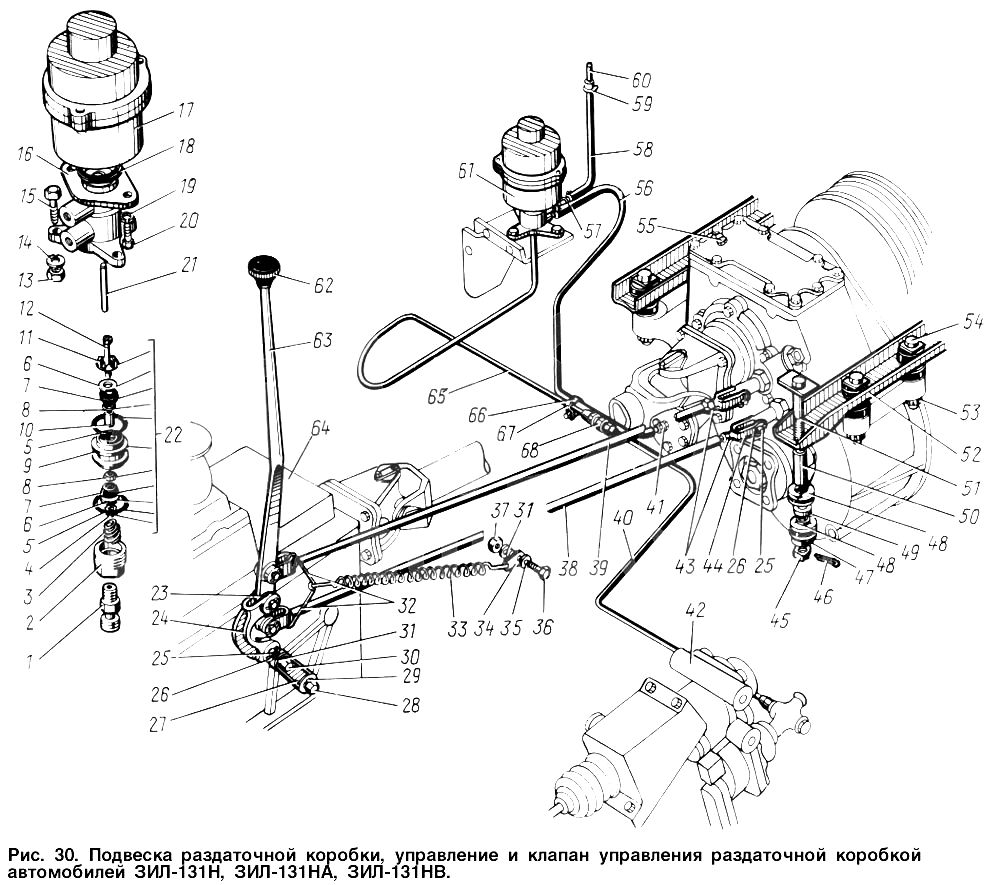 Схема подвески раздаточной коробки, управления и клапана управления  ЗИЛ 131