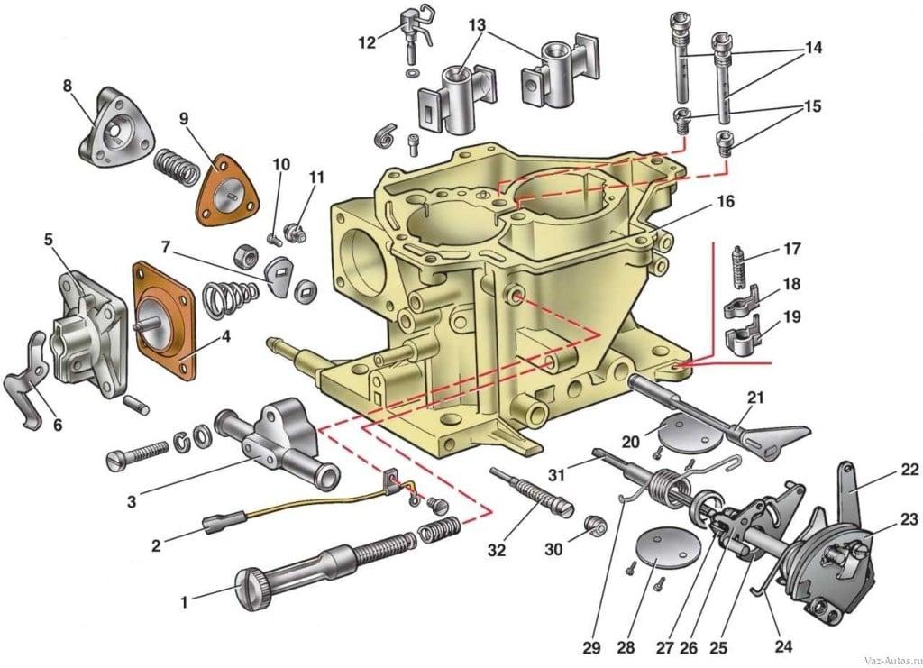 Детали карбюратора автомобиля