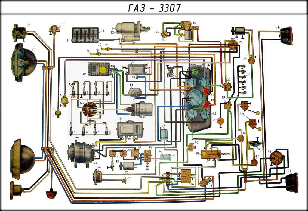 Газ 3307 схема замка зажигания