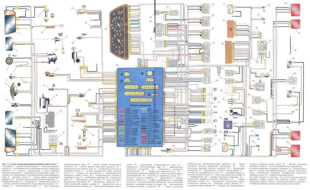 Схема электрическая автомобиля ваз 21115