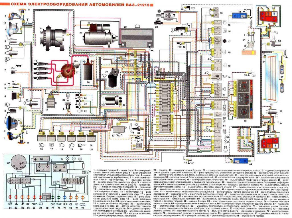 Схема электрооборудования Нива 21213