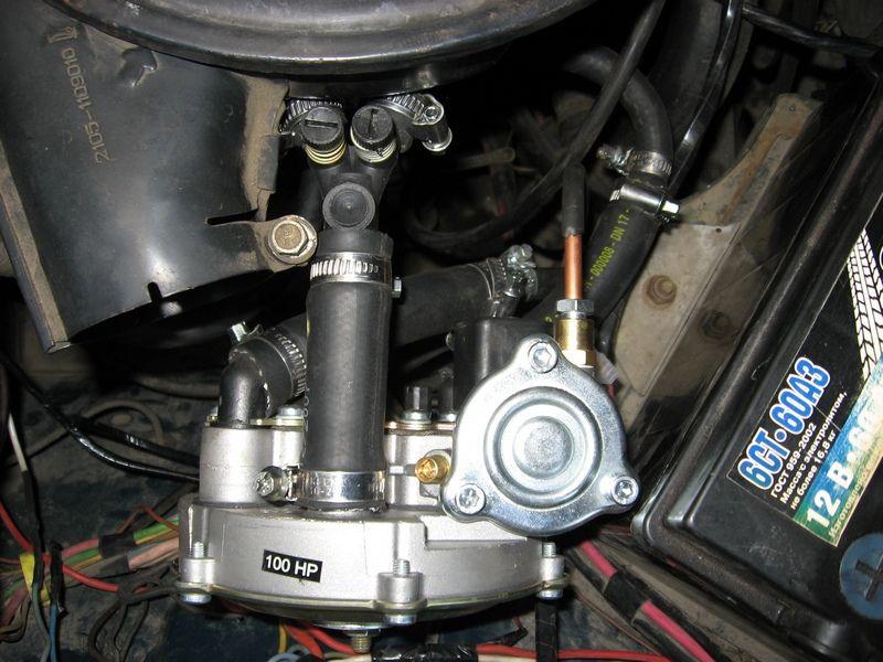 Установленный газовый редуктор томасетто
