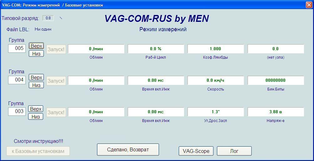 Программа VAG-COM. Режим измерений