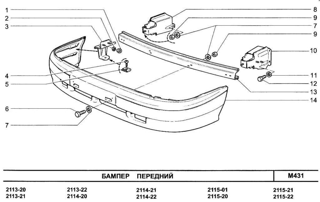 Схема переднего бампера ВАЗ 2115