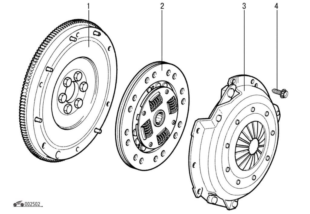 Схема маховика сцепления автомобиля