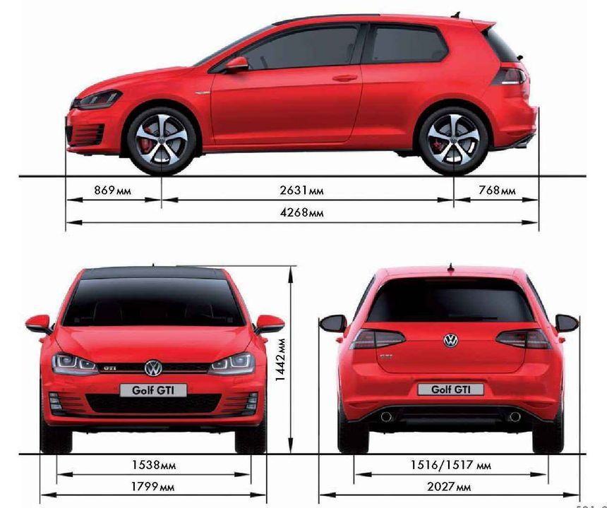 Volkswagen Golf размеры