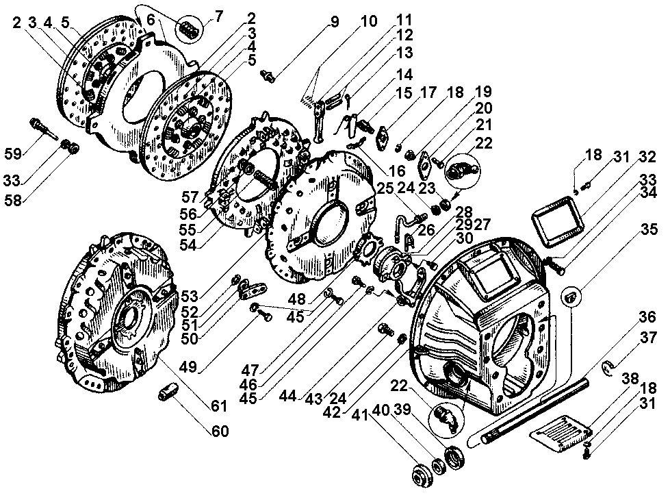 Схема сцепления ЯМЗ 238