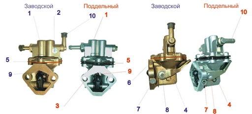 Заводской и поддельный топливный насос на ваз 2107